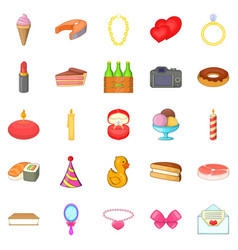 birthday icons set cartoon style vector image vector image