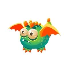 Green fantastic friendly pet dragon with orange vector