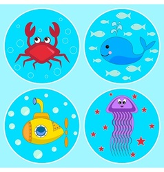 The Underwater icons vector image vector image