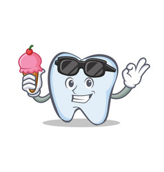 tooth character cartoon style with ice cream vector image vector image