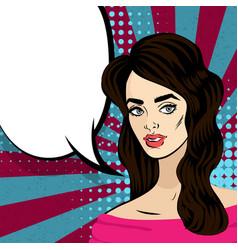beautiful brunette girl pop art vintage vector image
