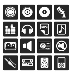 Black Music and sound Icons vector image vector image