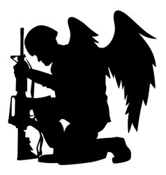 military angel soldier with wings kneeling vector image vector image