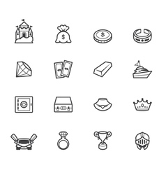 Property element black icon set on white bg vector