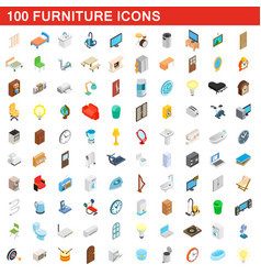 100 furniture icons set isometric 3d style vector
