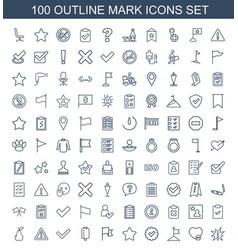 100 mark icons vector