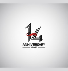 14 years anniversary logotype flat design vector
