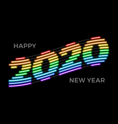 2020 happy new year luminous rainbow neon vector image