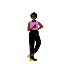 African american girl in modern clothing with vector