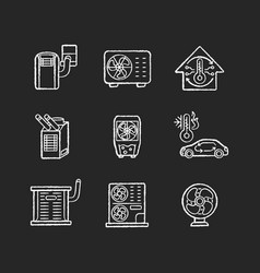 Air cooling and heating chalk white icons set vector