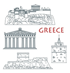 Ancient travel landmarks of Greece thin line icon vector