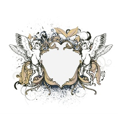 angels with floral frame vector image