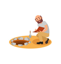 archaeologist sitting near pit and making notes in vector image