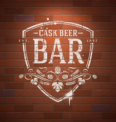 Bar sign painted with white paint on brick wall vector