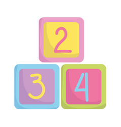 Bashower cubes with numbers toys announce vector