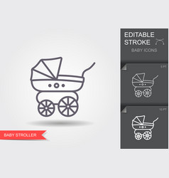 bastroller line icon with editable stroke vector image