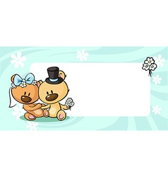 Bears in wedding dress lies on horizontal design - vector image