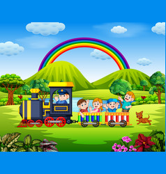 beautiful view with the children vector image