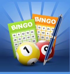 Bingo lottery balls and tickets with numbers pen vector