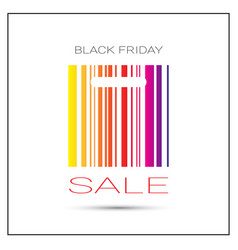 Black friday sale poster with colorful bar code on vector