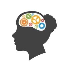 Brain gears head silhouette idea icon vector