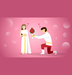 bride and groom in traditional thai costumes vector image