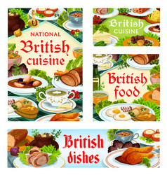 Britain cuisine english food dishes set vector