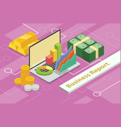 business report concept 3d isometric with laptop vector image