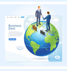 businessman handshake with globe earth background vector image