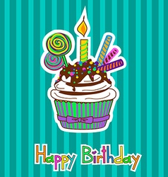 Card for birthday with cupcake vector