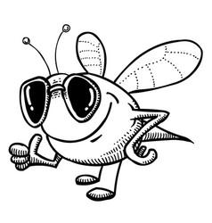 Cartoon image of bee wearing sunglasses vector