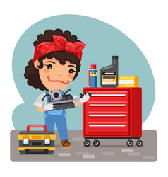 cartoon mechanic woman in a workshop vector image