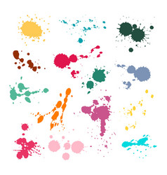 color ink spot set splash and drop colours vector image