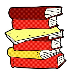 Comic cartoon pile of books vector