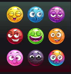 Comic jelly balls with emoji faces for game vector