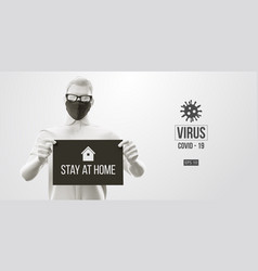 coronavirus covid19-2019 man in white black mask vector image