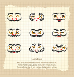 Daruma dolls cute emotional faces vector