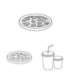 design of pizza and food symbol set of vector image