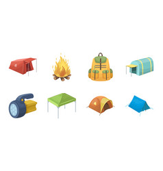 Different kinds of tents icons in set collection vector