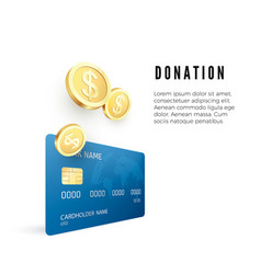 donation concept golden coin collect on credit vector image
