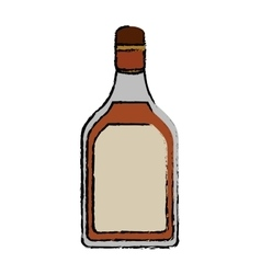 drawing tequila bottle alcoholic beverage vector image