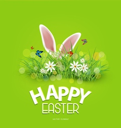 easter rabbit ears sticking out grass vector image