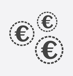 euro coins icon in flat style black coin on white vector image