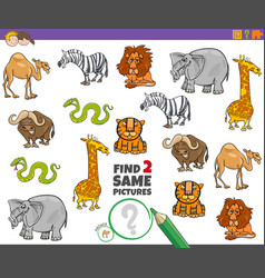 Find two same animals educational game vector