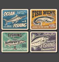 Fishing sport tackle fish and seafood vector
