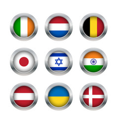 Flag buttons set 2 vector