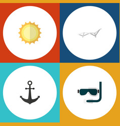 flat icon summer set of ship hook deck chair vector image