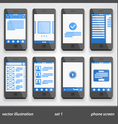 Flat phone screen set 1 vector