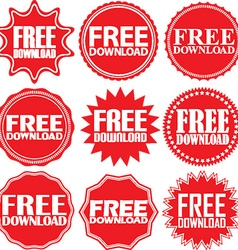 Free download red label Free download red sign vector image