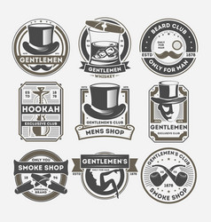 Gentleman vintage isolated label set vector